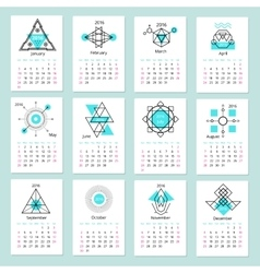European calendar grid for 2016 year with abstract vector image vector image