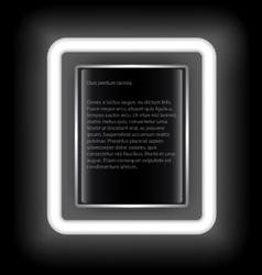 Glowing rectangular frame with space for text on a vector