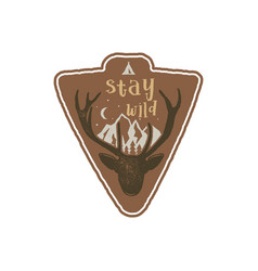 Hand drawn vintage camping badge and hiking label vector