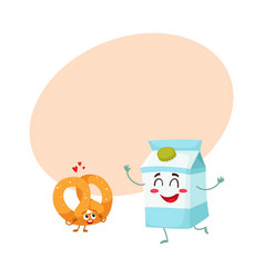 Hot crispy german pretzel and milk box characters vector