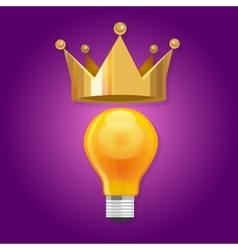 Idea is king bulb shine lamp crown queen vector