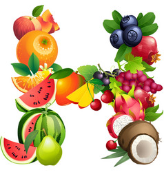 Letter H composed of different fruits with leaves vector image