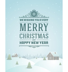 Merry Christmas greeting card ornament vector image
