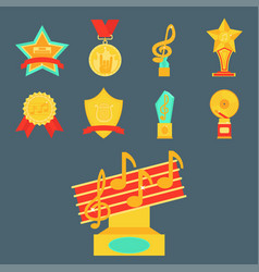 music award statuette microphone and notes vector image