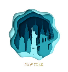 Paper art of skyline new york city vector