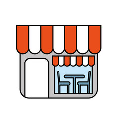restaurant exterior window door chair table vector image