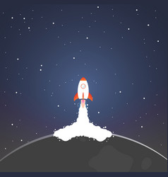 Rocket and the space rocket launch from moon vector
