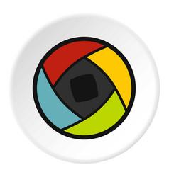Semi-closed lens icon circle vector
