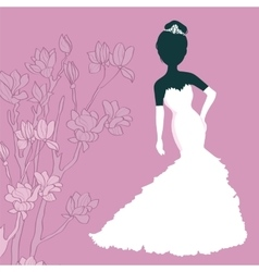 Silhouette Girl In Wedding Dress vector image