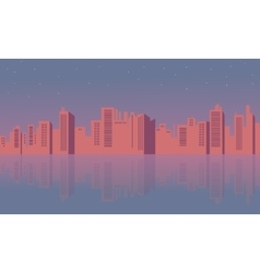 Silhouette of building town and reflection vector