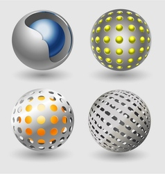 Silver ball business icon collection vector image vector image