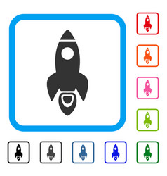 space rocket framed icon vector image vector image