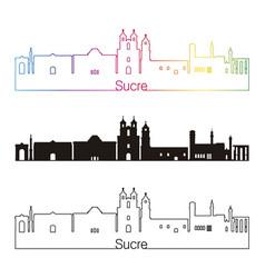 Sucre skyline linear style with rainbow vector