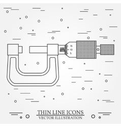 Thin line icon micrometer for web design vector