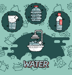 Water flat concept icons vector