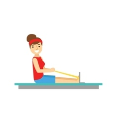 Woman exercising on rowing simulator member of vector