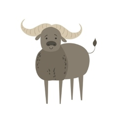 Zebu bull stylized childish drawing vector