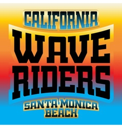Wave riders t shirt graphics rainbow vector image