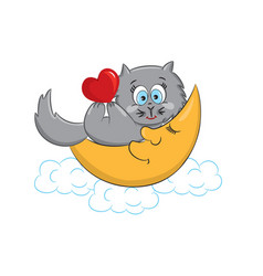 Cat with heart vector