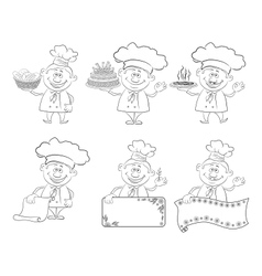 Set of cartoon cooks chefs outline vector image