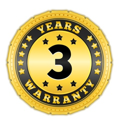 Three years warranty badge vector