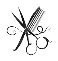 scissors comb and hair silhouette vector image