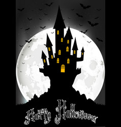 Halloween background with scary house on the full vector