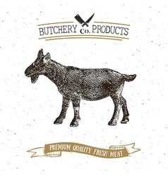 Butcher shop vintage emblem goat meat products vector