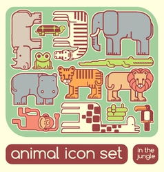Jungle animals set vector