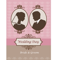 Vintage wedding card invitation vector