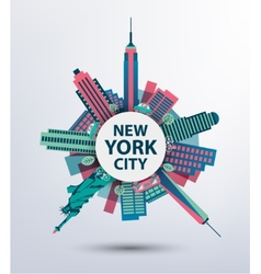 New york city architecture retro vector