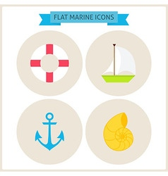 Flat marine website icons set vector