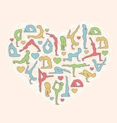 Poses heart i love yoga isolated on beige vector