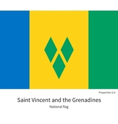 National flag of saint vincent and grenadines with vector