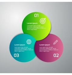 Infographics 3 colored circles vector