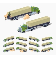 Green heavy truck and trailer with the tarpaulin vector
