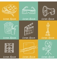 Set of objects and symbols on the cinema theme vector