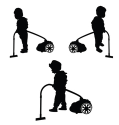 Child with vacuum cleaner vector