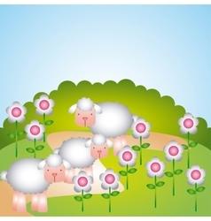 flock of sheep design vector image