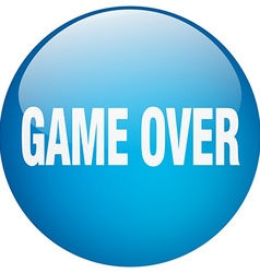 Game over blue round gel isolated push button vector