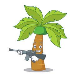 Army palm tree character cartoon vector
