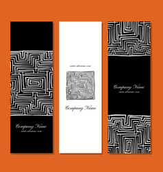 banners design labyrinth square vector image vector image