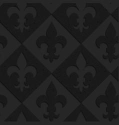 Black textured plastic fleur-de-lis on diamonds vector