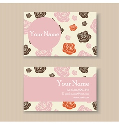 business card with roses vector image