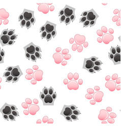 cat and dog paw print with claws vector image vector image