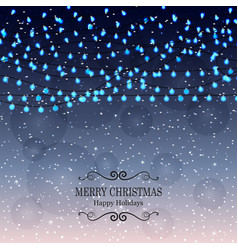 Christmas background with light lamps garlands vector
