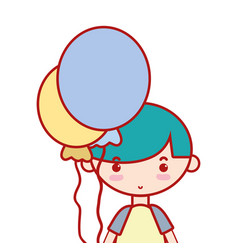 Cute boy with balloons and hairstyle design vector
