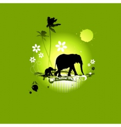 family of elephants summer illustration vector image vector image