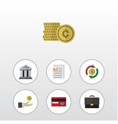 Flat icon incoming set of bank hand with coin vector