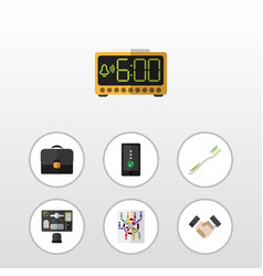 Flat icon lifestyle set of bureau electric alarm vector